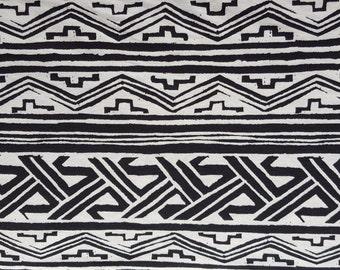 Aztec Tribal Print Cotton Jersey Knit Yard Black & Ivory 8/15