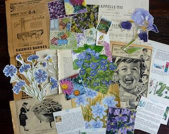 Vintage set with blue flowers / vintage paper bundle / vintage ephemera