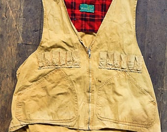 vintage 1950s Plaid lined zipper front canvas hunting vest - Western Field - Montgomery Ward