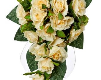 Yellow Silk Rose Cascade - Silk Bridal Wedding Bouquet