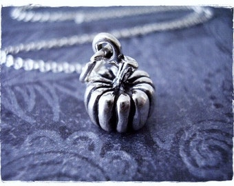 Silver Pumpkin Necklace - Sterling Silver Pumpkin Charm on a Delicate Sterling Silver Cable Chain or Charm Only