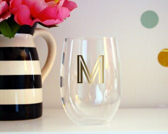Monogram Mirrored Gold Stemless Wine Glass