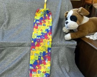 Plastic Bag Holder Sock, Puppy Play Squares Print