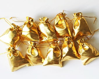Gold Favor Bag, Party Favor Bags, Wedding Favor, Gold Party, Gold Anniversary, Treat Bags, Candy Bags, Jewelry Bags, Drawstring Bags