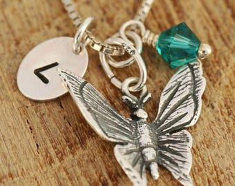 Sterling Silver Butterfly Necklace, Silver Butterfly Necklace, Birthstone Necklace, Initial Necklace, Gift for Her