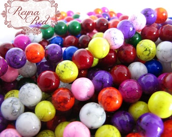 Spray Painted Spatter Glass Beads Mixed Color FULL strand 10mm size - reynaredsupplies