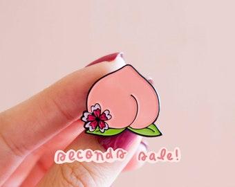 SECONDS Peach Booty Enamel Pin- Peach Pin Flower Feminist Gift Women's Rights  Lapel Pin Girl Power Art Peach Emoji