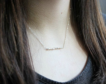 Tiny Silver Bead Bar Necklace - Faceted Silver Nugget - Silver Bead Necklace - Minimalist Jewelry - Layering Necklace - Gift for her