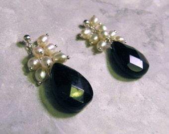 Onyx Pearl Earrings, Cluster Posts
