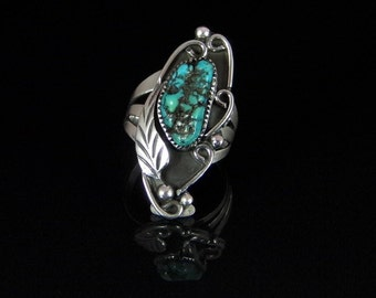 Natural Turquoise Ring Sterling Silver Handmade Size 7.0, R0184