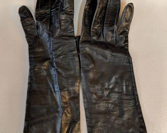 1950s //  MERVILLE LEATHER  // Vintage Merville Size 6.5 Black Leather Gloves