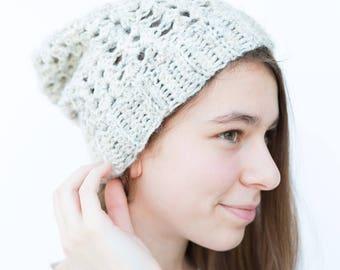 Stargazer Hat // Oatmeal // Winter Hat // Crochet Slouch Beanie