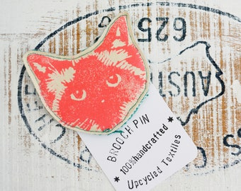 Bright Orange Neon Red Cat Face Pin Brooch. Birman Ragdoll. Hand printed Upcycled textiles.