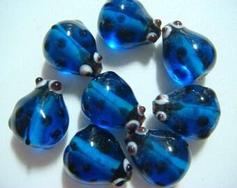 Cute little ladybug glass beads - Blue