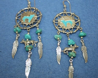 925 Sterling Silver Medicine Shield Earrings with Turquoise Stones Native American Signed