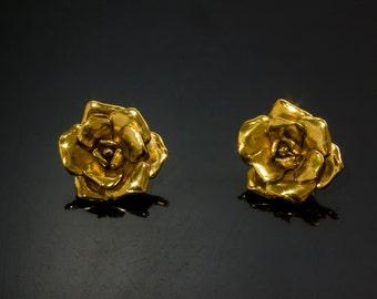 Vintage YSL Yves Saint Laurent Gold Tone Flower Earrings