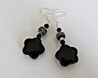 Onyx blossoms, earrings, onyx earrings, silver plated