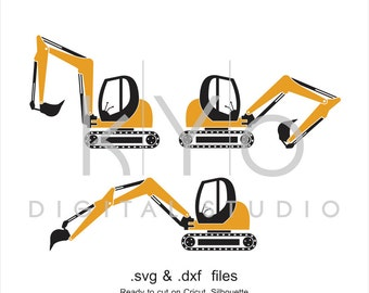 Digger SVG cut file, Excavator SVG DXF, Ground works svg, Construction svg, cutting files for Cricut Explore and Silhouette Cameo