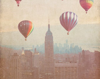 "Vintage New York City - 8x10 photograph - ""Balloons over Midtown"" - fine art print - vintage photography - NYC art  - New York skyline"