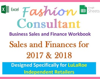 Fashion Consultant Finance Workbook 2017 & 2018 - Revenue, Item Sales, Expenses, Profit Management and More - Excel Finance Spreadsheet