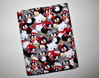 Polar Bears & Penguins Flannel Receiving Blanket, Winter Animals, Baby Blanket