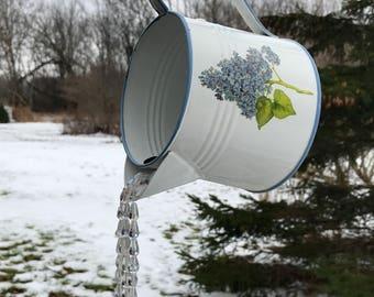 Hydrangea Watering Can Crystal Suncatcher