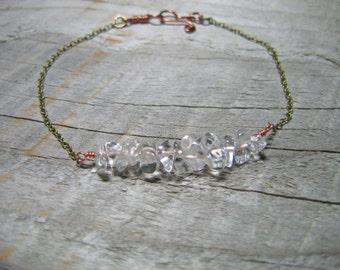 Crystal Nugget Bracelet, Stacking Bracelet, Crystal Chain Bracelet, Boho Jewelry, Bridesmaid Gift, Copper Chain Bracelet, Simple Jewelry