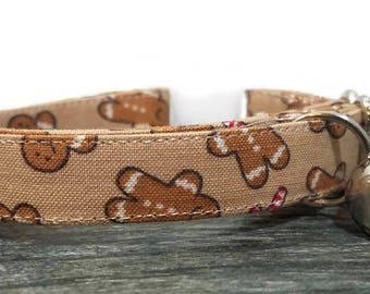 Christmas cat collar, Gingerbreadman, Gifts, Cat Collars, Breakaway Collar, Cotton Cat Collar, Cat Collar, Kitty Collar, Christmas Gifts