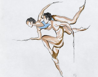 Two Dancers Print | Wall Art | Home Decor | Expressive Illustration | Original Drawing