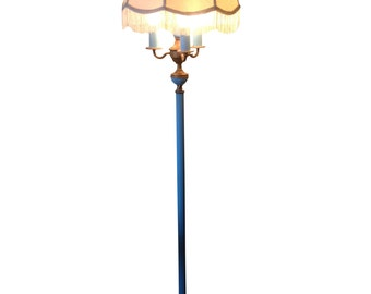 Vintage Baby Blue Boho Chic Floor Lamp with Shade