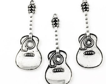 3 guitar charms silver tone, 50 mm # CH 625