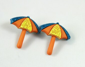 Umbrella studs, Umbrella earring, Beach umbrella earrings, Beach umbrella studs
