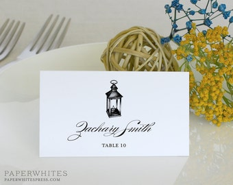 Printed Lantern Place Cards, Lantern Wedding Place Cards, Rustic Wedding Place Cards, Rustic Rehearsal Dinner Place Cards, Tented Place Card