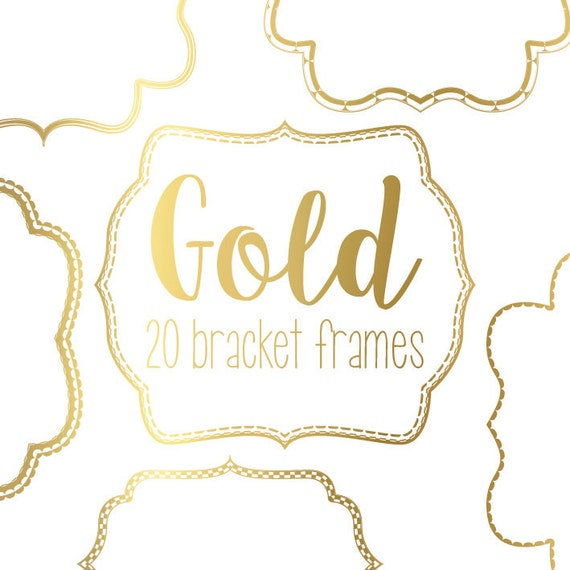 20 Gold Bracket Frame Borders With Detail Instant Digital
