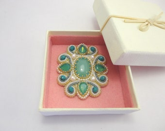 Bead embroidery brooch with chrysoprase cabochons & natural pearls