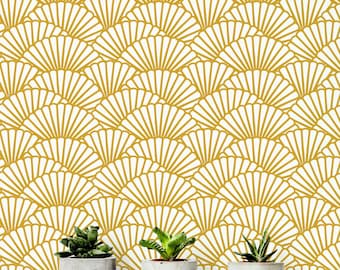 Solid Gold Wallpaper/ Scallop Removable Wallpaper/ Self-adhesive Wallpaper / Geometric Pattern Wall Covering - 145