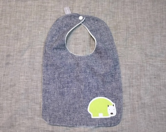 bib - green wombat / indigo hemp denim / eco friendly / organic cotton bamboo towelling / baby toddler boy girl unisex / baby shower gift