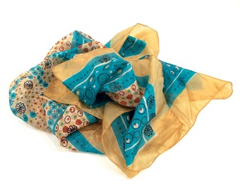 Hand Rolled and Stitched Edge, Vintage Pure Silk Neck Scarf, Scarves, Womans Fashion Accessory, circa 1960s,