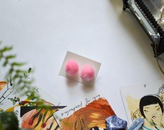 Pale Pink Stud Pom Poms Earrings