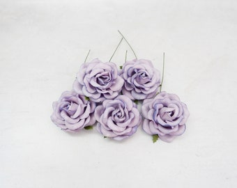 5 pc - 6 cm lavender purple paper roses with wire stems - 60mm paper roses