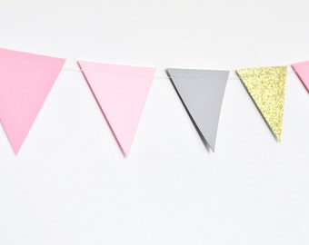 Pink Gold and Grey Flag Bunting, Paper Garland, Birthday Party Decor, Wedding Decor, Shower Decor, Nursery