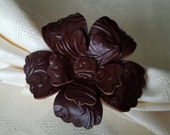 Handcrafted Burgundy Veg Tanned Leather Flower Napkin Rings, Set of 6, Housewarming Gift, Wedding Gift