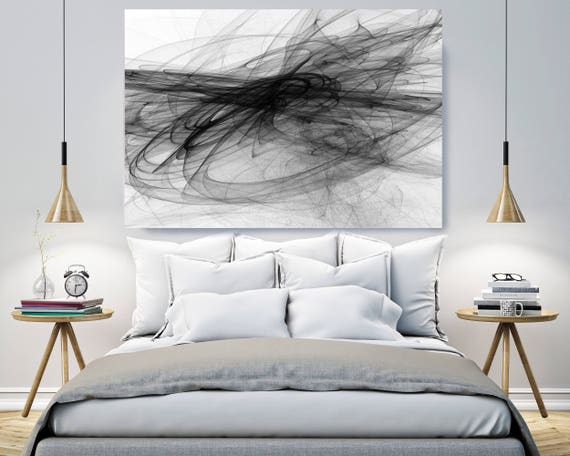 """Abstract Black and White 20-55-51. Contemporary Unique Abstract Wall Decor, Large Contemporary Canvas Art Print up to 72"""" by Irena Orlov"""