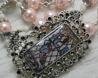 St Joan of Arc Chaplet, Maid of Orleans, Pearl Rosary, Patroness of Matyrs and victims, Embellished unbreakable Rosary, Unbreakable rosary