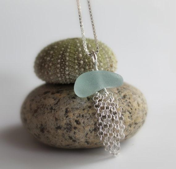Little Jellyfish sea glass necklace in aqua