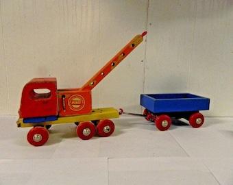 Vintage Heros Western Gerany Wood Toy Vehicles Set Wagon, Train with Crane