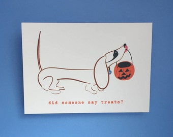 SALE Halloween Dachshund Card Doxie Card Card Wiener Dog Card