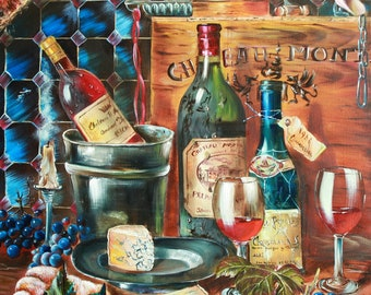 Large Oil painting original still life With Wine, Grapes, Cheese, oil on canvas, food painting, bottle of wine