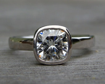 Square Cushion Moissanite Ring - Forever One G-H-I - Recycled 950 Palladium - Alternative Engagement Ring, Conflict-Free, Made to Order
