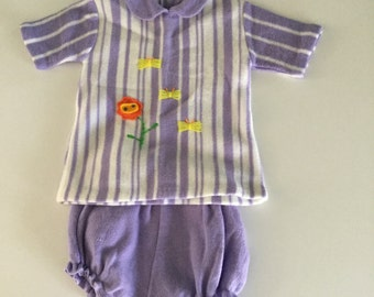 Vintage 70s Two Piece Purple Embroidered Floral Butterfly Sweater Set 12-18 months